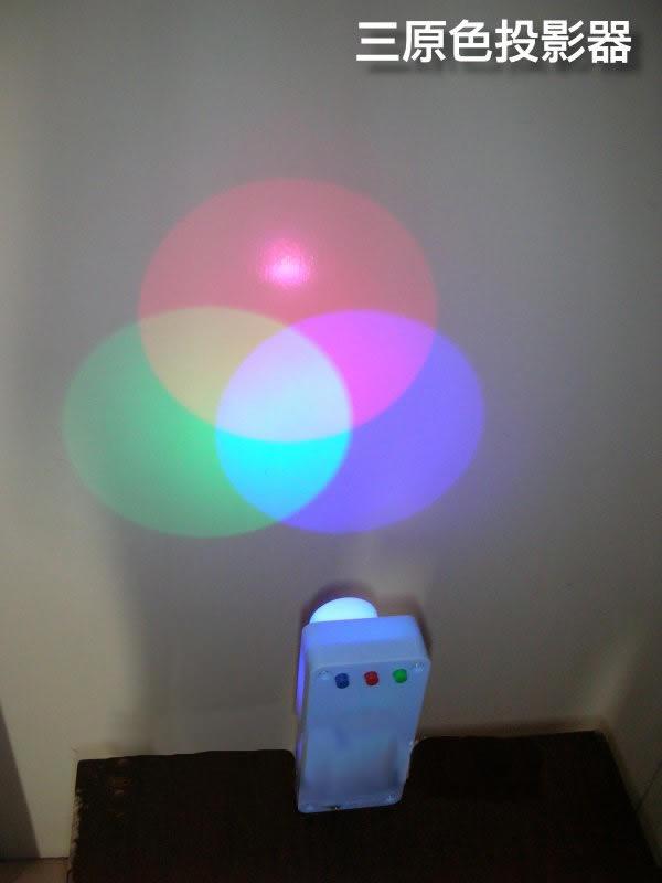 按红掣便投影红光束  按绿掣便投影绿光束  三组光束可投影出以下