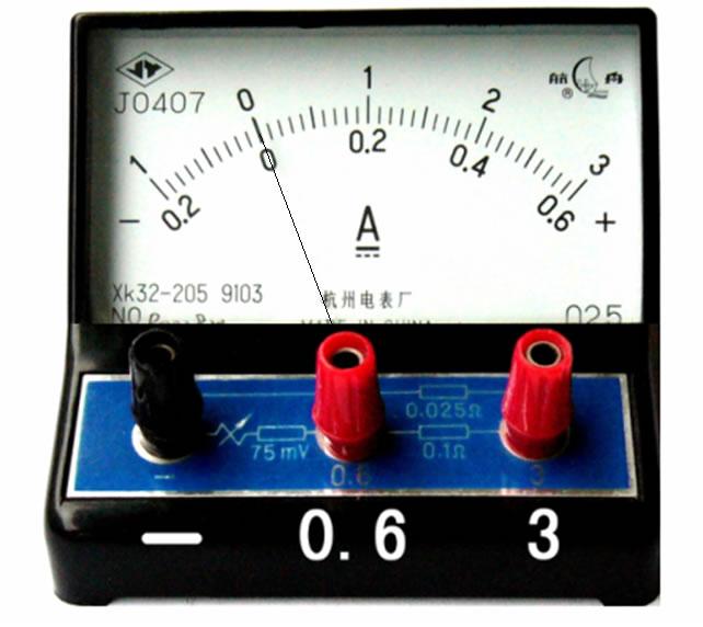 下图是电流表的实物图.     (1)电流表串联接入被测电路中.
