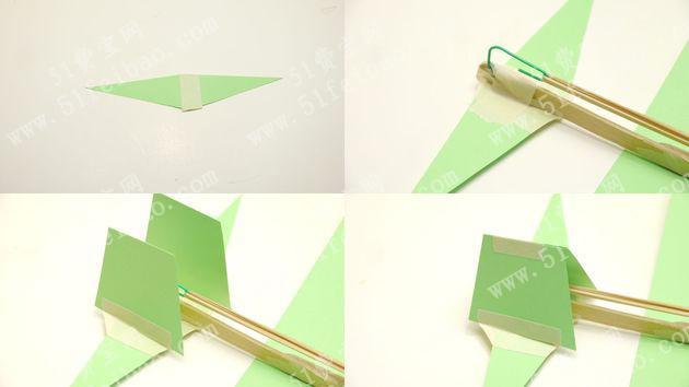 下面是一种最简单而且环保的橡筋动力螺旋桨滑翔机的做法。   1、材料准备:竹棍或者用过的一次性筷子,色卡纸。橡皮筋,色卡纸,胶水,回形针、废吸管。    2、用热熔胶把螺旋桨固定安装在竹棍上,竹棍的另外一端,利用回形针做一个固定在竹棍的吊钩。    3、按照图下说示,把色卡纸对折后拆开。    4、把色卡纸粘在竹棍正中位置,飞机模型的机翼部分就做好了。    5、接下来利用色卡纸制作尾翼,根据下面的图示顺序进行操作即可。    6、利用废吸管制作飞机模型的起落架,方法是把吸管截短后折合粘贴成首位相接的