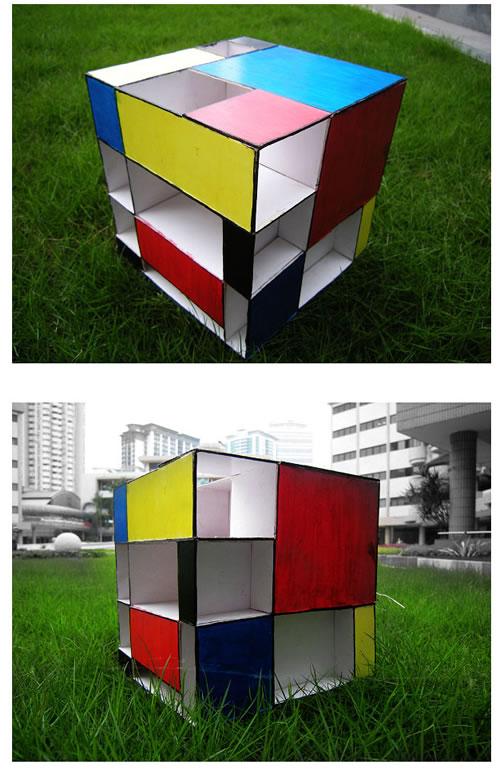 计灵感来自几何抽象画派大师蒙德里安的《红、黄、蓝构图》.这也解